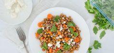 Warm Farro , Feta and Roasted Chickpea Salad
