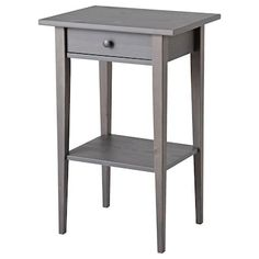 IKEA - HEMNES, Nightstand, gray dark gray stained, Smooth running drawer with pull-out stop. Made of solid wood, which is a durable and warm natural material. Coordinates with other furniture in the HEMNES series. Ikea Hemnes Nightstand, Bedside Cabinet, Ikea Nordli, Ikea Side Table, Painted Drawers, 6 Drawer Chest, Dressing Table Mirror, White Stain, Ideas