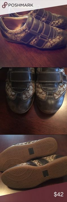 COACH Sneakers COACH Strap Velcro Shoes. Authentic! Some wear at tip of shoes (last pic), otherwise are in GREAT condition! Coach Shoes