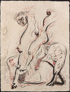 André Masson (French, 1896-1987)  Rider Chimeric I (Cavalier Chimerique I), 1968Ink and color ink on Japanese paper
