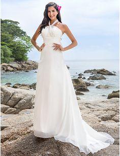 A-line/Princess Plus Sizes Wedding Dress - Ivory Chapel Train Halter Chiffon – USD $ 129.99