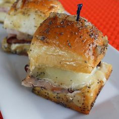 . Caramelized Ham and Cheese Sliders Recipe from Grandmothers Kitchen. Ham Cheese Sliders, Ham And Swiss Sliders, Ham And Cheese, Swiss Cheese, Cuban Sliders, How To Carmalize Onions, Slider Sandwiches, Muffins, Hawaiian Sweet Rolls