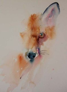 Акварельный эскиз лисы