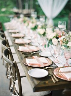 Rose Gold and Greenery Farm Table Decor   Rebecca Hollis Photography