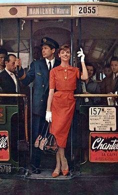 Iris Bianchi in red two-piece summer dress as seen in Burda Moden magazine, March 1959