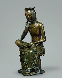 Bodhisattva in pensive pose, probably Maitreya (Korean: Mireuk). Korea, Silla kingdom, late 6th–early 7th century. Gilt bronze; H. 36 7/8 in. (93.5 cm).