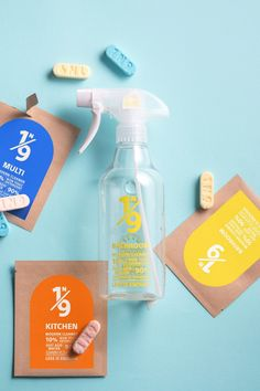 Supublic's founders began the 1N9 Modern Cleaner project after realising the number of chemicals, such as sodium lauryl sulfate and triclosan, are in standard cleaning products. Clean Bottle, Plastic Waste, Sustainable Design, Plastic Bottles, Editorial Design, Spray Bottle, Cleaning Supplies, Cleaning Products, Modern