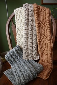 Mountain Range Scarves. I've made the gray one...love the patterns...beautiful. $