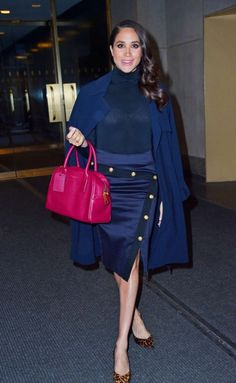 Splurge: Meghan Markle's Today Show Veronica Beard Navy Paradise Pencil Skirt, Marc Jacobs Merlot Gotham Bauletto Bag, and Sarah Flint Chocolate Leopard Emma Pumps