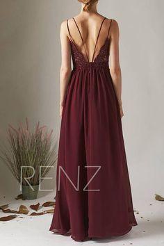 Bridesmaid Dress Wine Chiffon Dress 77ed70b25