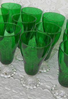 Vintage Set of 12 Anchor Hocking Burple Green Footed Iced Tea Goblets Glasses by GenerationsEstate on Etsy