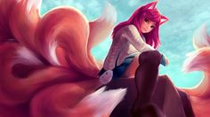 1girl absurdres academy_ahri ahri akuma_akatsukii animal_ears black_legwear blue_sky breasts clouds facial_mark foreshortening fox_ears fox_tail from_side full_body hair_ornament hairclip heart_hair_ornament highres huge_filesize league_of_legends long_hair long_sleeves looking_at_viewer looking_to_the_side miniskirt multiple_tails outdoors pleated_skirt redhead school_uniform sitting skirt sky slit_pupils solo tail thigh-highs whisker_markings yellow_eyes