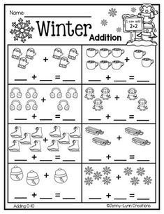 Winter Addition by Jenny-Lynn Creations Kindergarten Addition Worksheets, Subtraction Kindergarten, Kindergarten Math Activities, Kindergarten Math Worksheets, Preschool Math, Activities For 5 Year Olds, Math Addition, Basic Math, Math For Kids
