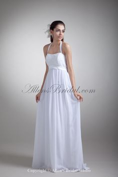 2c9b603fbdc Chiffon Halter Neckline Floor Length Empire Wedding Dress with Embroidered  on sale at affordable prices