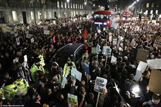 Thousands of demonstrators have taken to the streets of UK cities tonight to protest Donal...