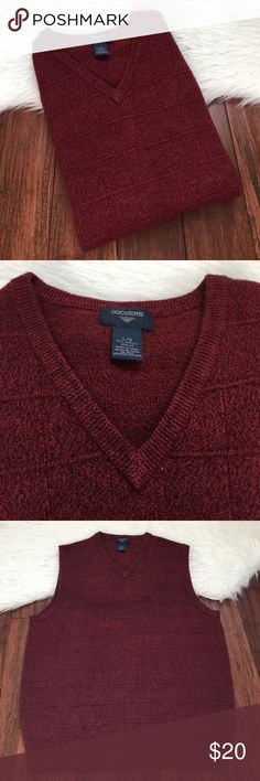 Men's | Dockers | Burgundy Knit Sweater Vest Excellent condition. No flaws. Soft material. Made from 100% acrylic. Dockers Suits & Blazers Vests