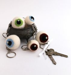 Eyeball Key Chain Small Needle Felted Eyeball Key door TheSnobGoblin