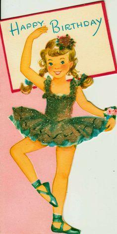 Vintage Happy Birthday Ballerina Greetings Card (B2). $3.00, via Etsy.