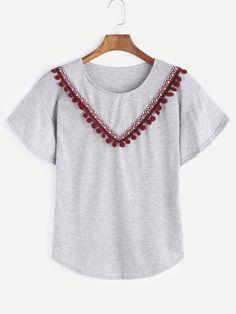 Camiseta bordada gris de la cinta de Pom Pom