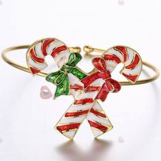 Cute Candy Cane Bowknot Christmas Bracelet Jewelry For Women ($2.92) ❤ liked on Polyvore featuring jewelry, bracelets, bracelet bangle, christmas bracelet, bracelet jewelry and christmas jewelry