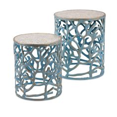 Coral Mother of Pearl Tables (Set of - IMAX coastal style with this set of two round drum tables. The set features a distinctive organic coral design in aluminum highlighted with a blue patina finish. The top completes the look with a beauti End Table Sets, End Tables, Coffee Tables, Sofa Tables, Dining Sets, Console Tables, Coastal Style, Coastal Decor, Coastal Living