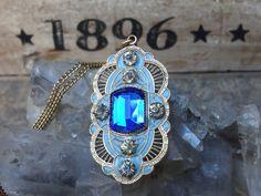 Antique Blue Glass Enamel Crystal/Glass Art by EstateVintTreasures, $49.00