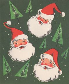 Vintage Santa, Vintage Christmas Card, Retro Christmas