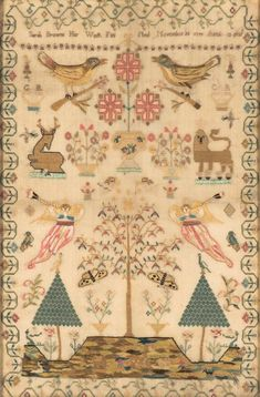 A George III linen cross-stitch needlework sampler, English, 18th century, worked by Sarah Browne and dated 1799.
