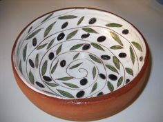 Olive designed wheel thrown bowl.