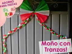 @xoOlexiitOo❥Adorno para fiestas Patrias: Moño con Trenzas (Cadena/Moño Papel Crepe) - YouTube