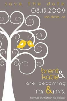 Save the Date - Lovebirds Swirly Tree