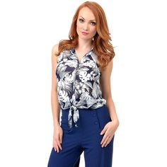 Retro Style Navy & White Hawaiian Floral Button Up Sheer Tie Blouse ($24) ❤ liked on Polyvore featuring tops, blouses, navy blue, tie collar blouse, sheer floral blouse, tie blouse, navy blouse and transparent blouse