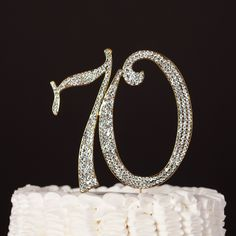 70 Gold Cake Topper - 70th Birthday or Anniversary Rhinestone Metal Number…