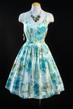 Vintage 1950s NOVELTY Watercolor Dress
