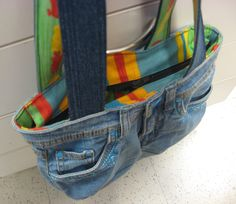 Kierrätys farkkulaukku - Recycled jeans bag Recycle Jeans, Recycling, Bags, Handbags, Upcycle, Bag, Totes, Recycled Denim, Hand Bags
