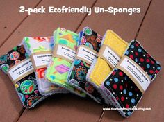 Since these are new to the shop I am letting you try them out for $1 off! After getting grossed out by using kitchen sponges, I have finally come up with a way to use up my scraps and be a little more eco friendly! This listing is for a 2 pack of cloth sponges for your kitchen. They measure approx. 3 1/2 x 6 1/2 and may shrink slightly after the first wash.    They are made of a top cotton or flannel fabric print and the bottom is leftover terry cloth from my swiffer wet jets. The middle is…