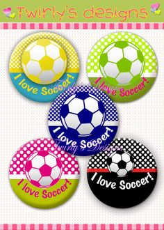 """INSTANT DOWNLOAD 1"""" I love Soccer Bottle cap images 4 X 6 Collage Sheet Craft Supplies Cupcake Topper, Bracelet, Necklace, Key chain, Brooch on Etsy, $1.75"""