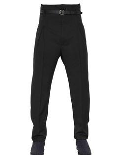 JEAN PAUL GAULTIER Black 17cm High Waisted Wool Twill Trousers - Lyst