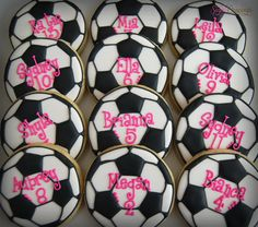 Alexis Soccer cookies (2)-1 | Flickr - Photo Sharing! Soccer Treats, Soccer Cupcakes, Soccer Snacks, Sports Snacks, Team Snacks, Football Cookies, Soccer Gifts, Volleyball Cookies, Kids Sports