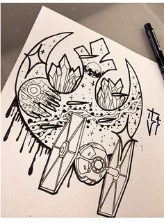 Tie fighter tattoo flash