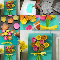 Flowers made from egg carton and buttons. Flowers made from egg carton and buttons. The post Flowers made from egg carton and buttons. appeared first on Knutselen ideeën. Kids Crafts, Easter Crafts, Diy And Crafts, Craft Projects, Project Ideas, Egg Carton Art, Egg Carton Crafts, Button Flowers, Paper Flowers