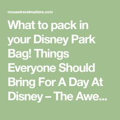 What to pack in your Disney Park Bag! Things Everyone Should Bring For A Day At Disney – The Awesome Disney World Packing List is just a list of suggestions of what to pack for a Walt Disney World vacation.