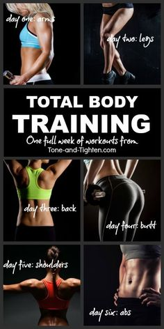 One workout a day for a different body area on each of 6 days! The