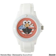 Shop Patriotic Elmo - Distressed Wristwatch created by SesameStreet. July 4 Birthdays, Warrior Workout, Presents For Kids, Kids Shows, Watch Faces, Elmo, Cool Gifts, Michael Kors Watch, Quartz