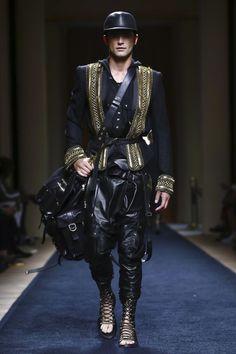 Sean O'Pry for Balmain Spring/Summer 2016 Fashion Week Paris, Mens Fashion Week, Boy Fashion, Christophe Decarnin, Balmain Men, Balmain Paris, Male Fashion Trends, Glamour, Leather Fashion