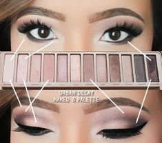 "Urban Decay Naked 3 Palette Smokey eye look! ""MUFE Aqua"" was used for the brows. #ForBrownEyes"