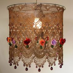 Dangling  Colored Tea Rose  Lampshade- Large Lace ceiling Lighting by AnatBon on Etsy https://www.etsy.com/listing/166180306/dangling-colored-tea-rose-lampshade