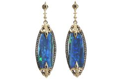 Midnight large elongated oval sliced Boulder Opal earring with white diamonds and blue sapphires.