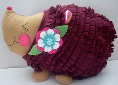 Hedgehog pillowanimal pillowtan and cranberry  by Fleeceofnature, $30.00