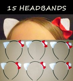 15 Headbands Kitty Ears with Bow Birthday Party Favors Girls Hello Costume Cat